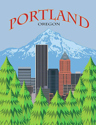 Digital Art - Portland Oregon Skyline Scenic Poster Illustration by Jit Lim