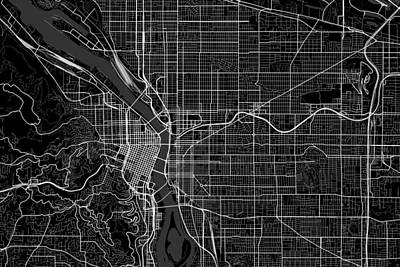 Portland Digital Art - Portland Oregon Usa Dark Map by Jurq Studio