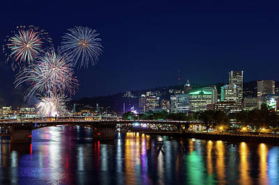 Photograph - Portland Rose Festival 2017 Fireworks by David Gn