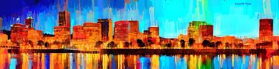 Tour Painting - Portland Skyline 100 - Da by Leonardo Digenio