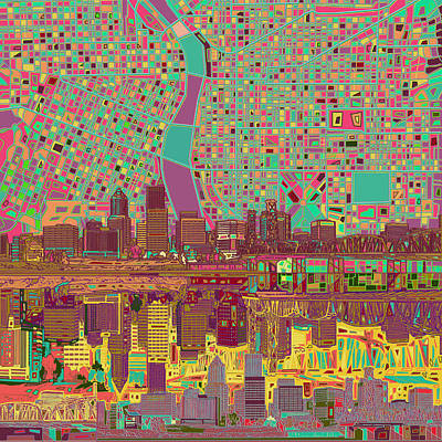 Painting - Portland Skyline Abstract 2 by Bekim Art