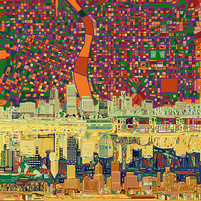 Painting - Portland Skyline Abstract 3 by Bekim Art