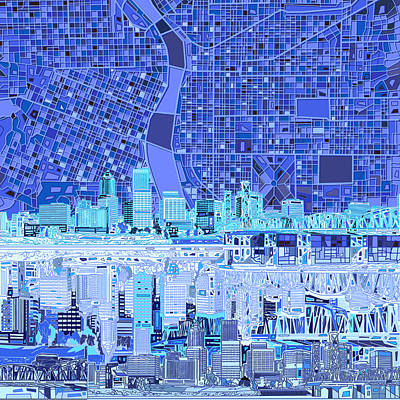 Abstract Digital Painting - Portland Skyline Abstract 5 by Bekim Art