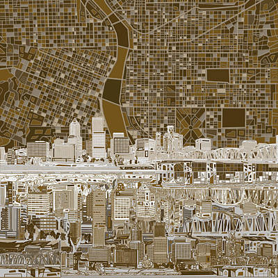Painting - Portland Skyline Abstract 6 by Bekim Art