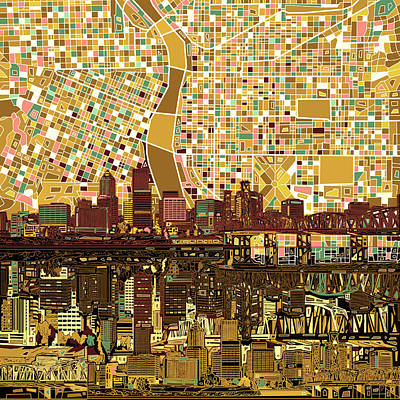 Painting - Portland Skyline Abstract 9 by Bekim Art