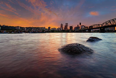 Portland Skyline Along Willamette River At Sunset Art Print