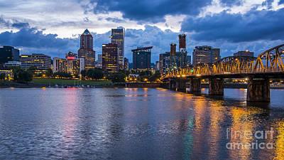 Photograph - Portland Skyline Along Willamette River by Bryan Mullennix