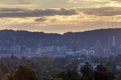 Photograph - Portland Skyline And Marquam Bridge During Sunset by Jit Lim
