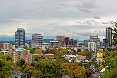 Photograph - Portland Skyline And Mount Hood In Fall Season by Jit Lim