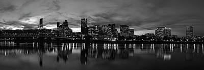 Portland Skyline Black And White Art Print