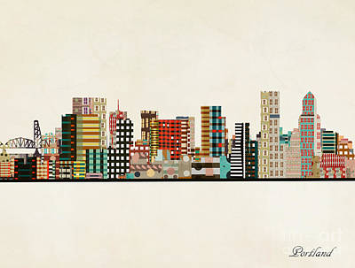 Painting - Portland Skyline by Bleu Bri