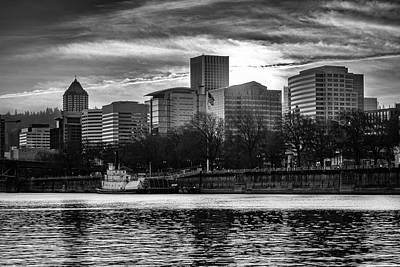 Photograph - Portland Skyline Bw by Steven Clark