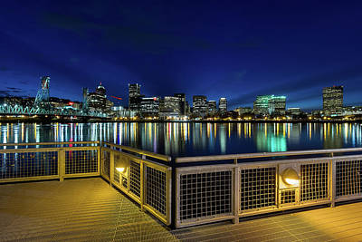 Photograph - Portland Skyline From Eastbank Esplanade At Night by Jit Lim