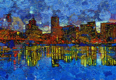 Painting - Portland Skyline Reflection by Dan Sproul