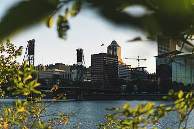 Thomas Kinkade - Portland Skyline through the Trees by Jake Tru