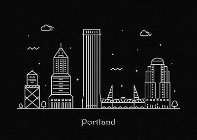 Drawing - Portland Skyline Travel Poster by Inspirowl Design