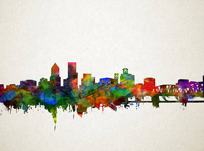 Abstract Digital Painting - Portland Skyline Watercolor 5 by Bekim Art