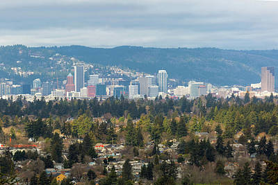 Photograph - Portland Southeast Neighborhood With City Skyline by Jit Lim