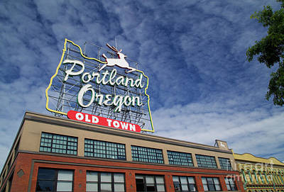 Photograph - Portland Stag Sign by Bruce Block