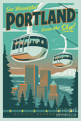 Pacific Digital Art - Portland Tram Retro Travel Poster by Jim Zahniser