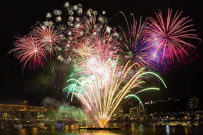 Photograph - Portland Waterfront 4th Of July Fireworks by David Gn