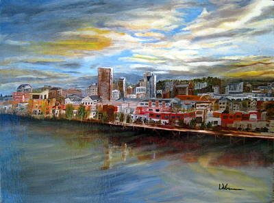 Painting - Portland Waterfront From Broadway Bridge by LaVonne Hand