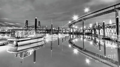 Portland Waterfront Overpass And Boats Art Print