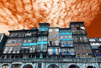 Photograph - Porto Buildings Pop Art by John Rizzuto