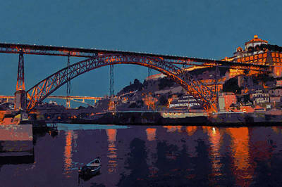Photograph - Porto River Douro And Bridge In The Evening Light by Menega Sabidussi