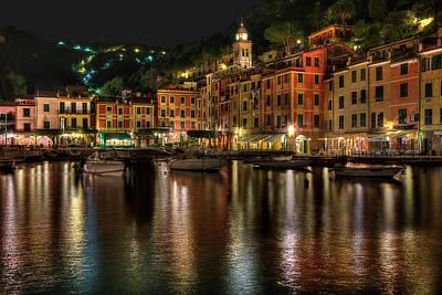 Photograph - Portofino Bay By Night II - Notte Sulla Baia Di Portofino II by Enrico Pelos