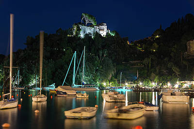 Photograph - Portofino Bay By Night Iv - Castello Brown Castle by Enrico Pelos