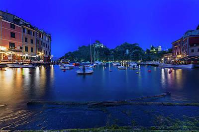 Photograph - Portofino Bay By Night - Notte Sulla Baia Di Portofino by Enrico Pelos