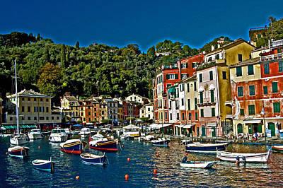 Boat Basin Photograph - Portofino Bay Italy by Allan Einhorn