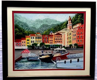 Portofino Italy Painting - Portofino Bay by Ramesh Mahalingam