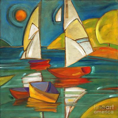 Portofino Beach Painting - Portofino Boats by Paul Brent