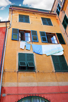 Photograph - Portofino Facade 3 by Al Hurley