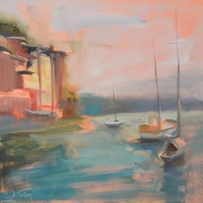 Portofino Beach Painting - Portofino From The Sea by Donna Tuten