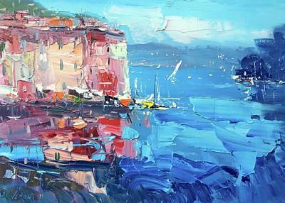 Portofino Beach Painting - Portofino Italy Art by Agostino Veroni