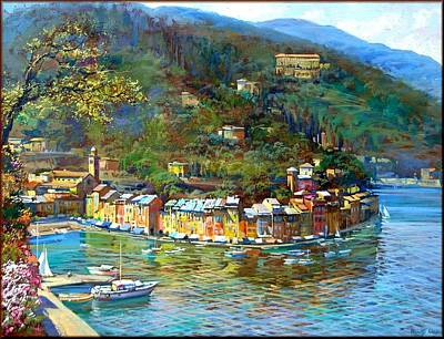Contempory Art Galleries In Italy Painting - Portofino Italy by Landi