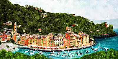 Awnings Painting - Portofino, Italy Prints From Original Oil Painting by Mary Grden Fine Art Oil Painter Baywood Gallery