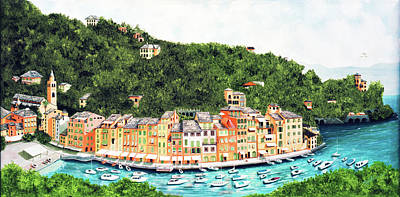 Painting - Portofino, Italy Prints From Myoriginal Oil Painting by Mary Grden Fine Art Oil Painter Baywood Gallery