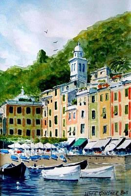 Portofino Beach Painting - Portofino Italy Riviera by William Gardner