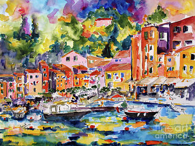 Painting - Portofino Italy Travel Europe Watercolor by Ginette Callaway