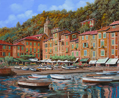 Curated Round Beach Towels - Portofino-La Piazzetta e le barche by Guido Borelli