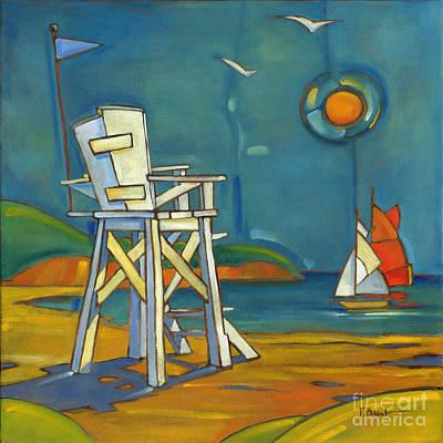 Portofino Beach Painting - Portofino Lifeguard Chair by Paul Brent