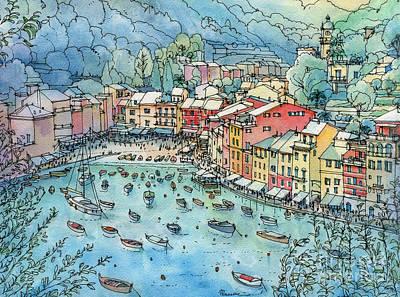 Portofino Italy Painting - Portofino by Luca Massone
