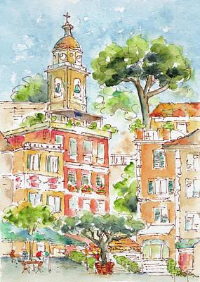 Art Print featuring the painting Portofino Piazetta by Pat Katz