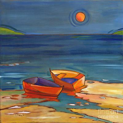 Portofino Beach Painting - Portofino Rowboats by Paul Brent