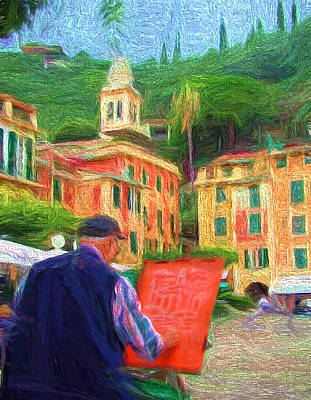 Portofino Through The Eyes Of An Artist Print by Mitchell R Grosky