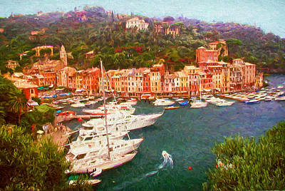 Portofino Italy Painting - Portofino View From Above by Mitchell R Grosky